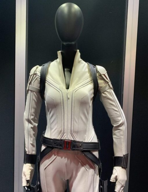 Black Widow White Leather Jacket Front