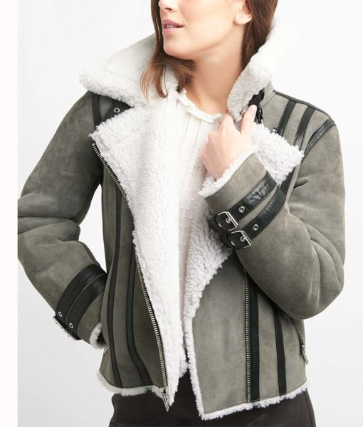 Grey Suede Leather Shearling Motorcycle Jacket Front
