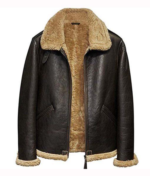 Men Aviator Flight Sheepskin Leather Jacket Front