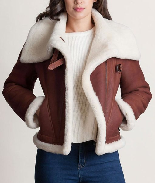 Womens Shearling Sheepskin Leather Front