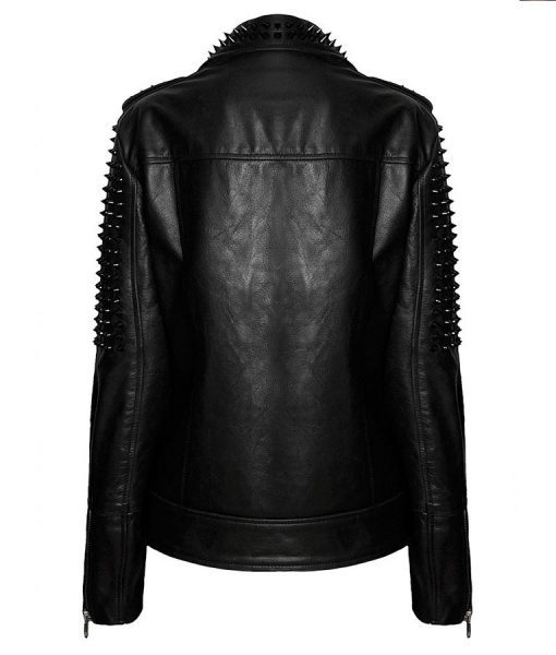 Black Spikes Studded Leather Jacket