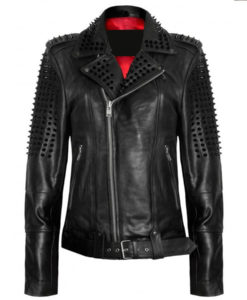 Black Spikes Leather Jacket