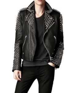 Black Spikes Studded Motorcycle Jacket