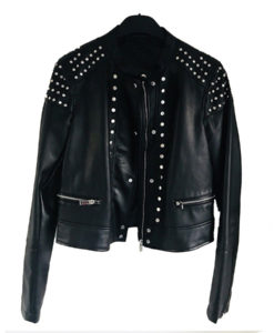Black Studded Racer Leather Jacket