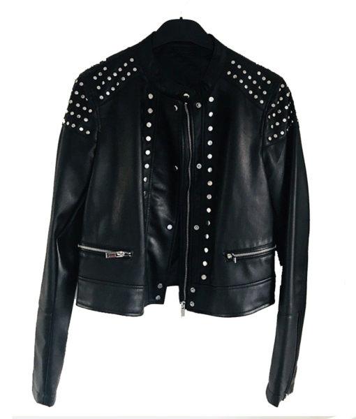 Black Studded Cafe Racer Leather Jacket