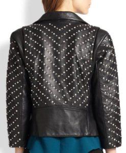 Black Studded Double Zipper Jacket