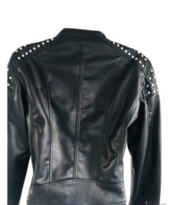 Black Studded Cafe Leather Jacket