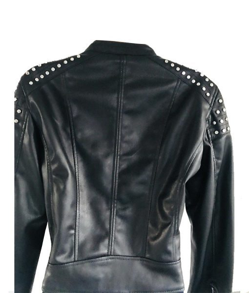 Black Studded Cafe Leather Jacket
