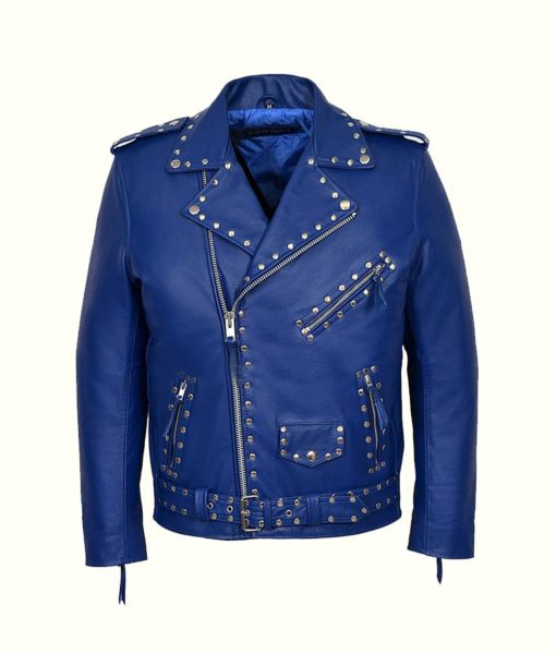 Blue Studded Motorcycle Jacket