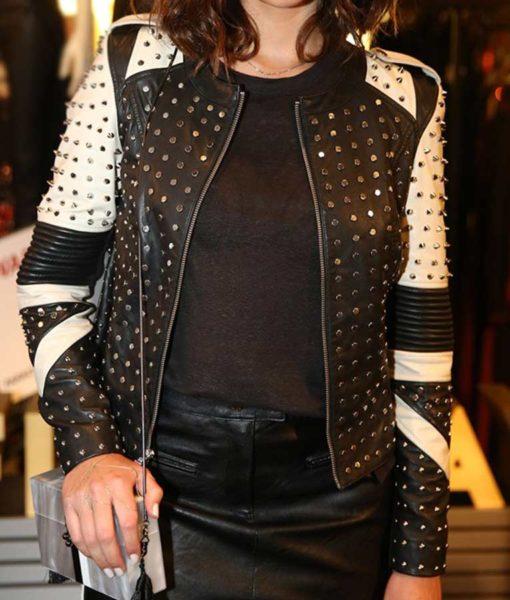 Bruna Marquezine Black & White Studded Jacket