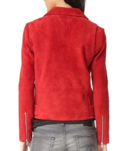 Suede Leather Red Biker Jacket