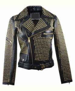 Full Golden Studded Leather Jacket