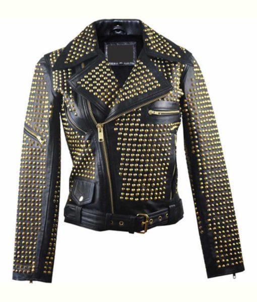 Full Golden Studded Biker Leather Jacket