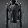 Men Black Studded Leather Jacket