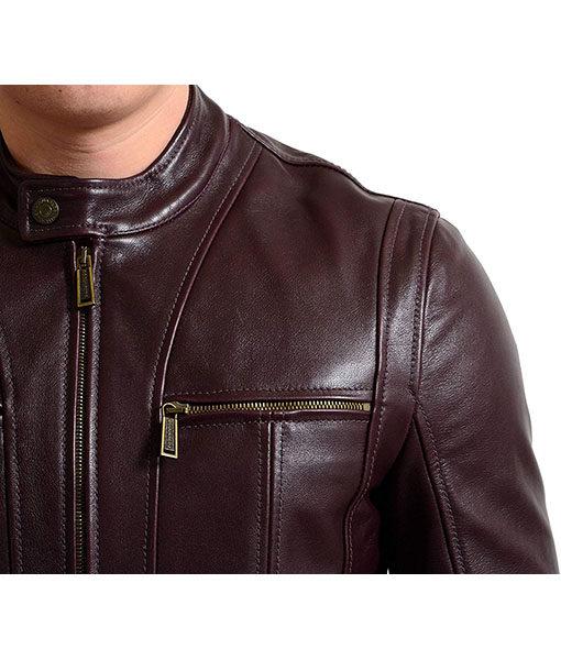 Men's Cafe Racer Brown Leather Motorcycle Jacket