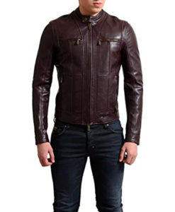 Cafe Racer Leather Motorcycle Jacket