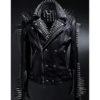 Silver Studded Black Leather Jacket