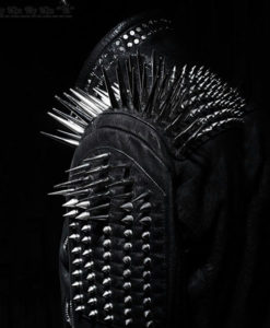 Mens Studded Black Leather Jacket