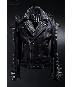 Silver Studded Black Leather Jacket