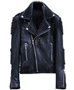 Mens Studded Biker Leather Jacket