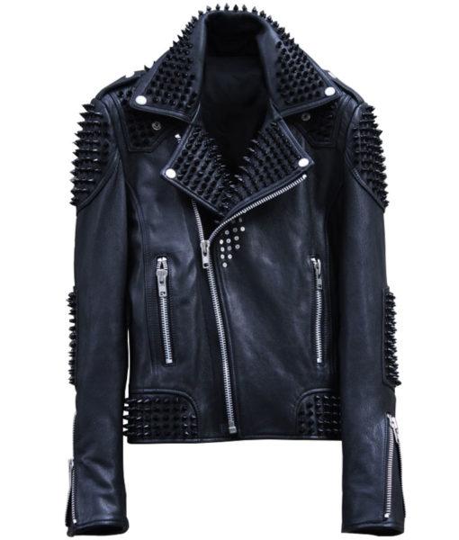 Studded Biker Leather Jacket