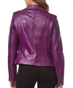 Purple Studded Leather Jacket