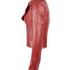 Red Color Leather Jacket Silver Studded For Women