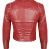 Red Color Genuine Jacket Silver Studded Slim Fit For Women