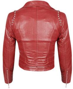 Red Color Genuine Biker Leather Jacket Silver Studded Slim Fit For Women