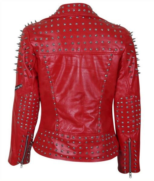 Red Spike Studded Leather Jacket