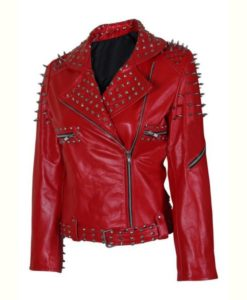 Red Spike Leather Jacket
