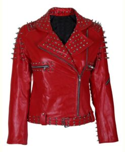 Red Spike Studded Jacket