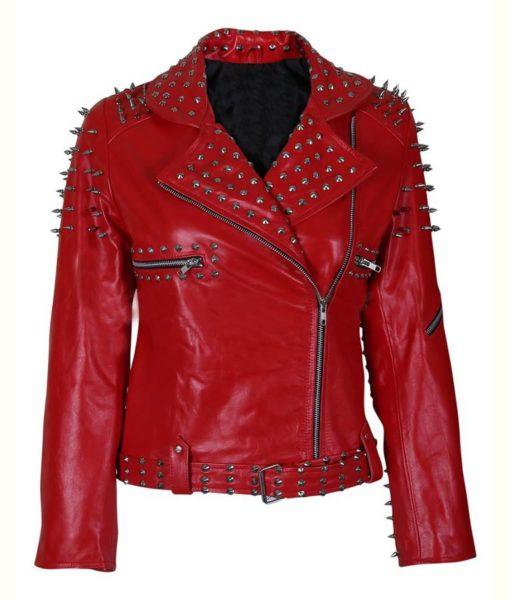 Red Spike Studded Jacket