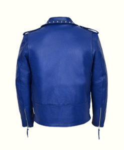 Blue Studded Motorcycle Jacket