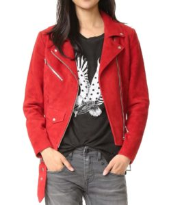 Emma Swan Suede Leather Red Biker Jacket
