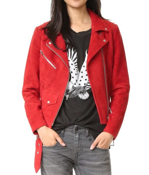 Suede Leather Red Biker Jacket