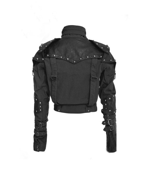 Womens Black Military Cropped Jacket