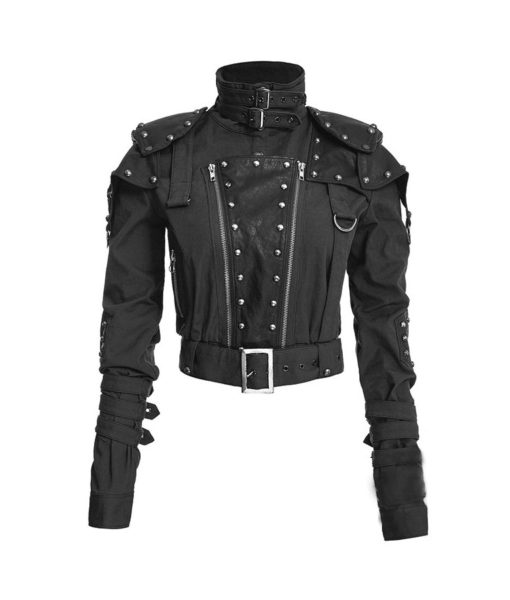 Womens Studded Military Cropped Jacket