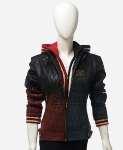 Harley Quin Quilted Leather Jacket With Hood