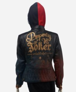Harley Quinn Daddy's Lil' Monster Quilted Leather Jacket With Hood
