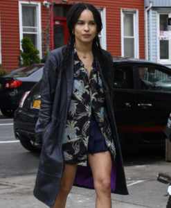 Zoe Kravitz Leather Coat