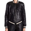 Dare Me French Leather Bomber Jacket