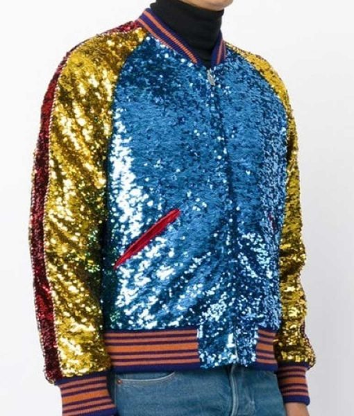 DNA Style Sequin Bomber Jacket