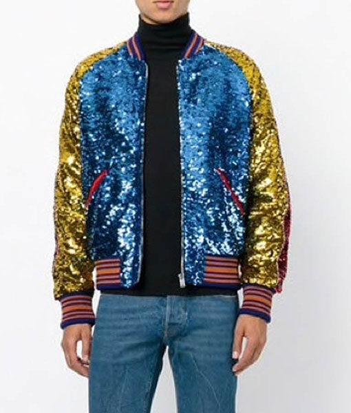 Jimin DNA Style Sequin Bomber Jacket