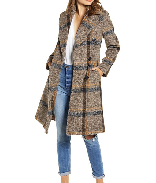 Womens Double Breasted Brown Plaid Tweed Coat