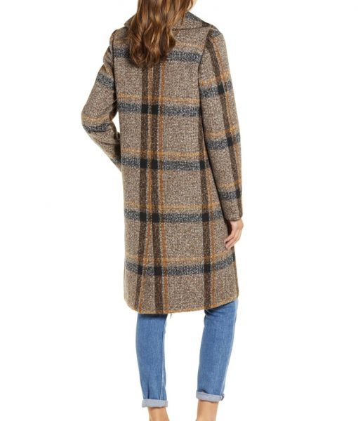 Double Breasted Brown Plaid Tweed Coat