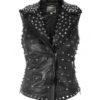 Silver Studded Black Leather Vest