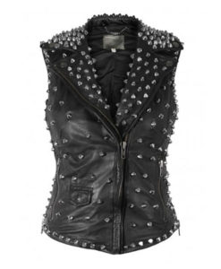 Silver Studded Black Leather Vest