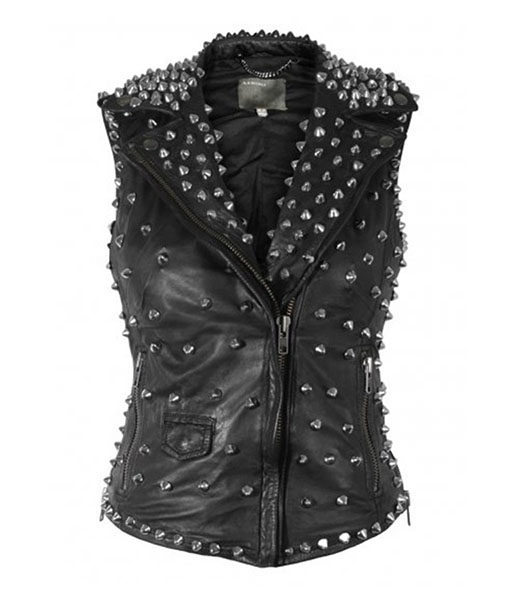 Womens Silver Studded Black Leather Vest