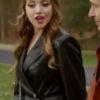 Elizabeth Gillies Black Leather Coat